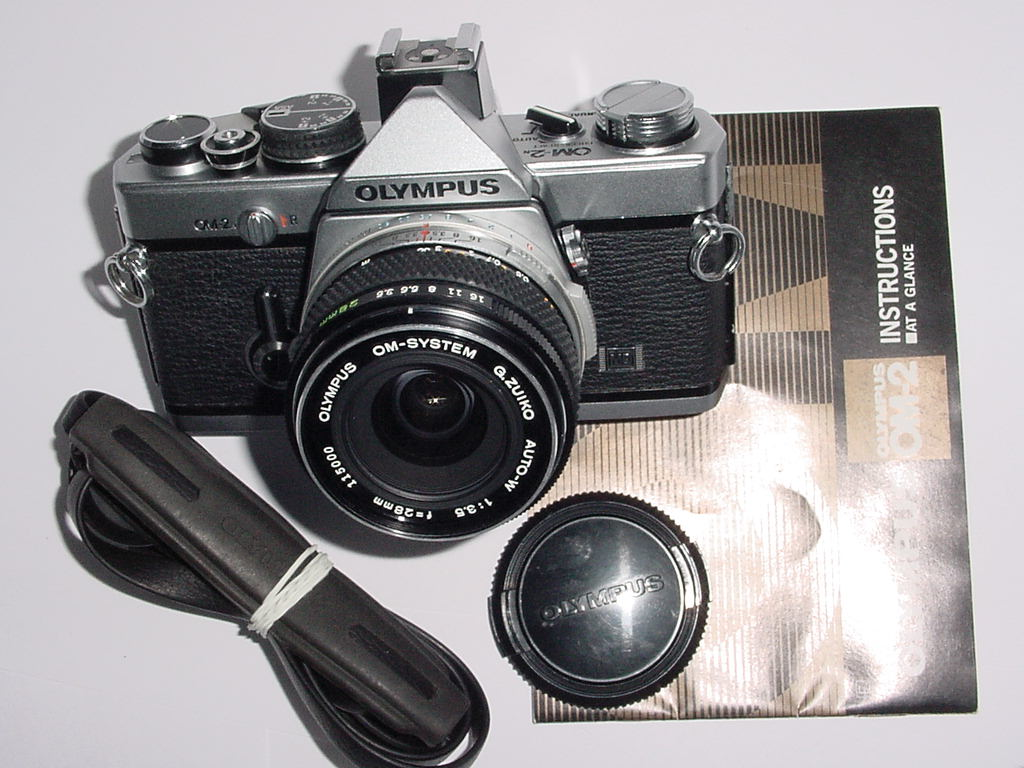 Olympus OM-2N MD 35mm Film SLR Manual Camera + 28mm F/3.5 G.ZUIKO AUTO-W Lens