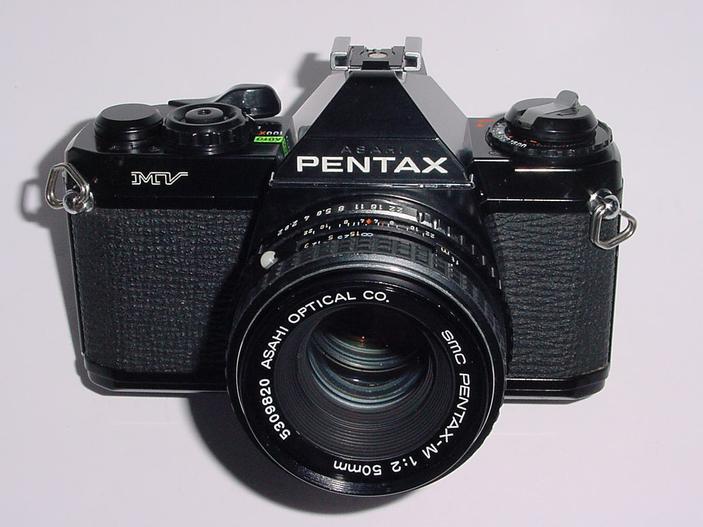 Pentax MV 35mm Film SLR Camera with Pentax-M 50mm F/2 SMC Lens