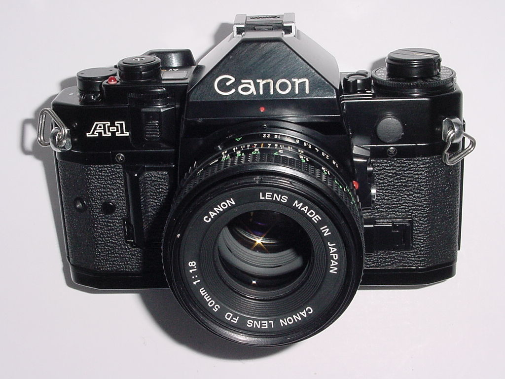 Canon A-1 35mm SLR Film Manual Camera with Canon 50mm F/1.8 FD Lens
