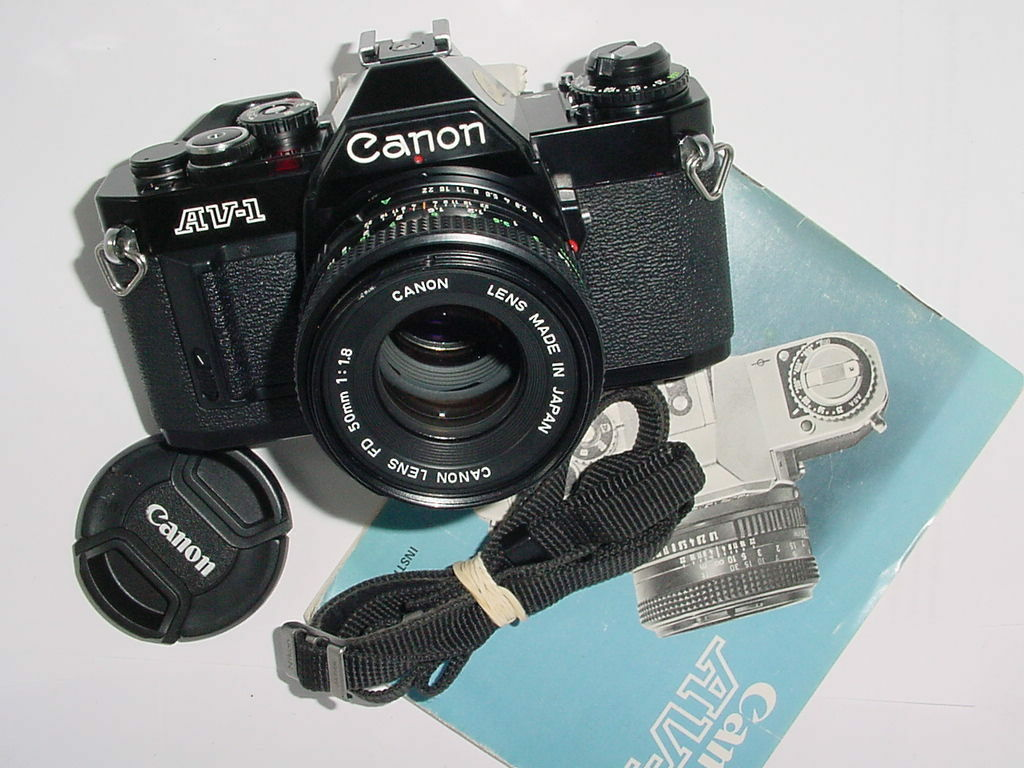 Canon AV-1 35mm SLR Film Camera with Canon 50mm F/1.8 FD Lens - Black
