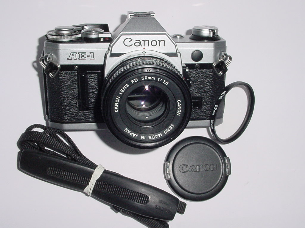 Canon AE-1 35mm SLR Film Manual Camera with Canon 50mm F/1.8 FD Lens