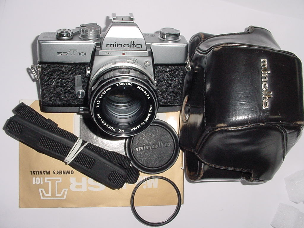 minolta SRT101 35mm Film Manual SLR Camera with Minolta 50/1.7 ROKKOR-PF MC Lens